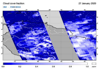 OMI - Cloud cover fraction of 27 January 2020