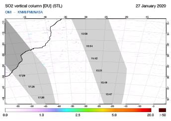 OMI - SO2 vertical column of 27 January 2020