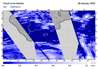 OMI - Cloud cover fraction of 28 January 2020