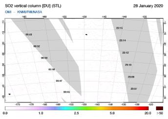 OMI - SO2 vertical column of 28 January 2020