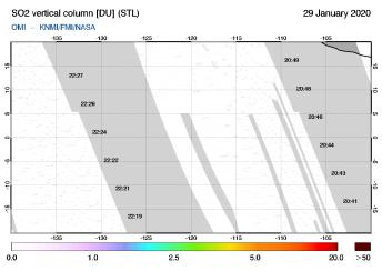 OMI - SO2 vertical column of 29 January 2020