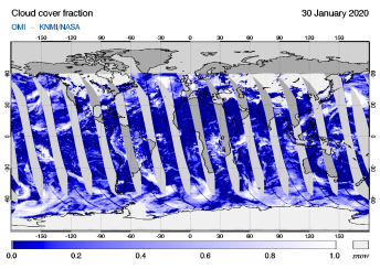 OMI - Cloud cover fraction of 30 January 2020