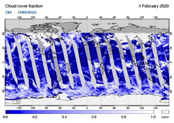 OMI - Cloud cover fraction of 04 February 2020