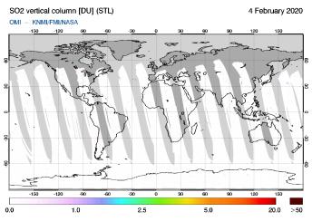 OMI - SO2 vertical column of 04 February 2020