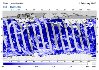 OMI - Cloud cover fraction of 05 February 2020