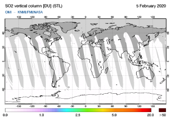 OMI - SO2 vertical column of 05 February 2020
