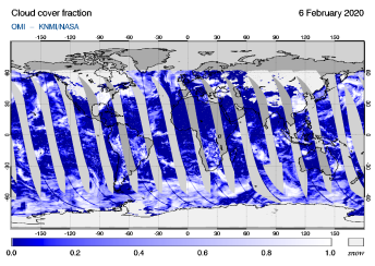 OMI - Cloud cover fraction of 06 February 2020
