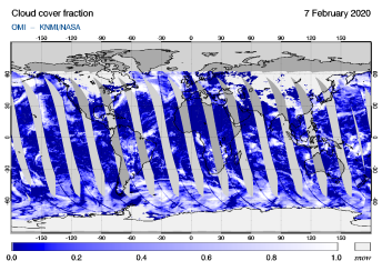 OMI - Cloud cover fraction of 07 February 2020