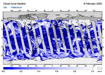 OMI - Cloud cover fraction of 08 February 2020