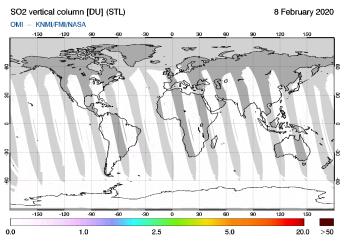 OMI - SO2 vertical column of 08 February 2020