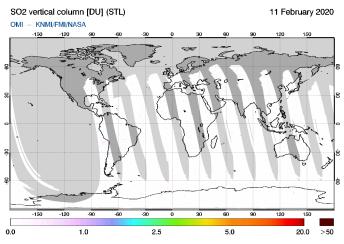 OMI - SO2 vertical column of 11 February 2020