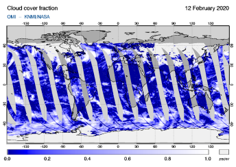 OMI - Cloud cover fraction of 12 February 2020