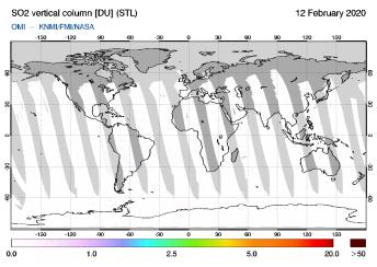 OMI - SO2 vertical column of 12 February 2020