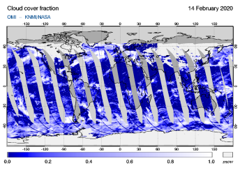 OMI - Cloud cover fraction of 14 February 2020