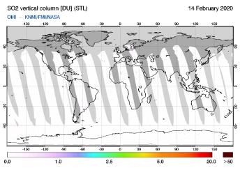 OMI - SO2 vertical column of 14 February 2020