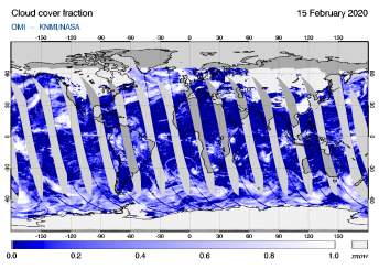 OMI - Cloud cover fraction of 15 February 2020