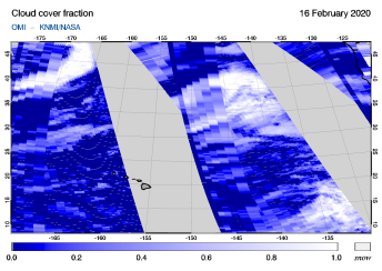 OMI - Cloud cover fraction of 16 February 2020