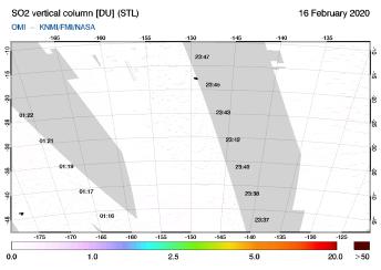 OMI - SO2 vertical column of 16 February 2020