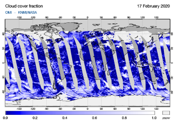 OMI - Cloud cover fraction of 17 February 2020