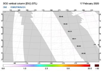 OMI - SO2 vertical column of 17 February 2020