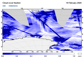 OMI - Cloud cover fraction of 18 February 2020