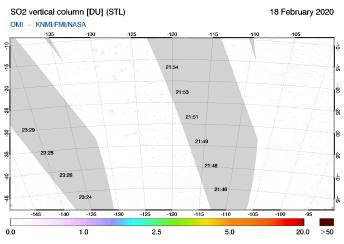 OMI - SO2 vertical column of 18 February 2020