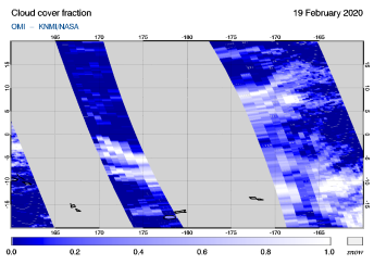 OMI - Cloud cover fraction of 19 February 2020
