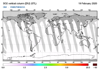 OMI - SO2 vertical column of 19 February 2020