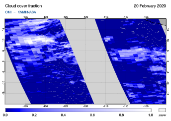 OMI - Cloud cover fraction of 20 February 2020