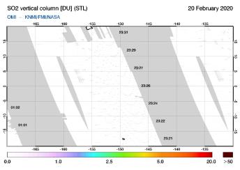 OMI - SO2 vertical column of 20 February 2020