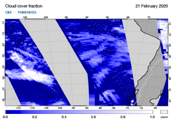 OMI - Cloud cover fraction of 21 February 2020