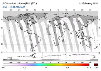 OMI - SO2 vertical column of 21 February 2020