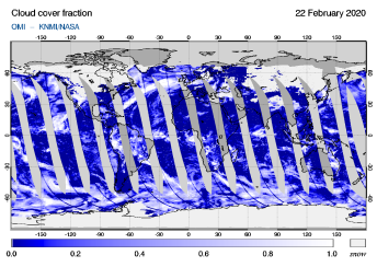 OMI - Cloud cover fraction of 22 February 2020