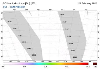 OMI - SO2 vertical column of 22 February 2020