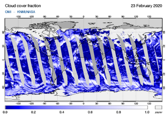 OMI - Cloud cover fraction of 23 February 2020
