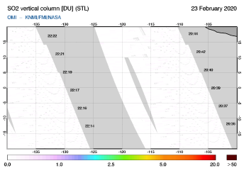 OMI - SO2 vertical column of 23 February 2020