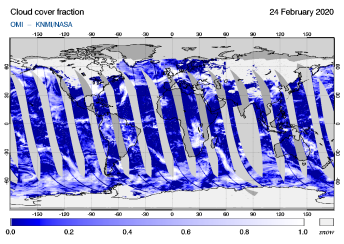 OMI - Cloud cover fraction of 24 February 2020