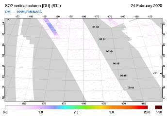 OMI - SO2 vertical column of 24 February 2020