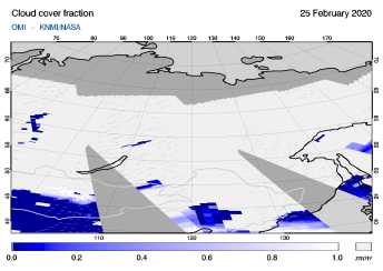 OMI - Cloud cover fraction of 25 February 2020