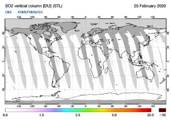 OMI - SO2 vertical column of 25 February 2020