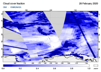 OMI - Cloud cover fraction of 26 February 2020