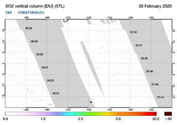 OMI - SO2 vertical column of 26 February 2020