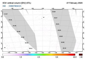 OMI - SO2 vertical column of 27 February 2020