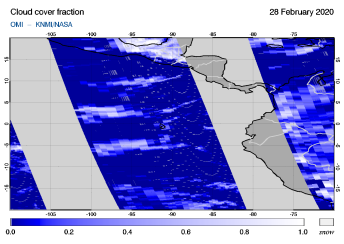 OMI - Cloud cover fraction of 28 February 2020