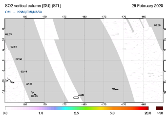 OMI - SO2 vertical column of 28 February 2020