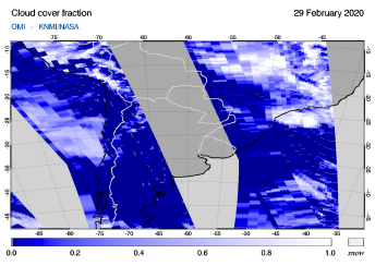 OMI - Cloud cover fraction of 29 February 2020