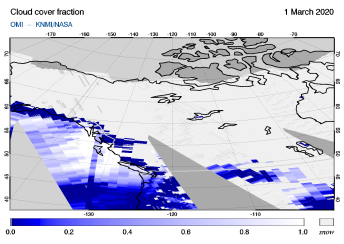 OMI - Cloud cover fraction of 01 March 2020
