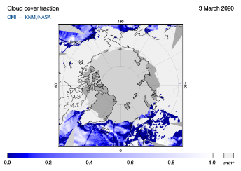 OMI - Cloud cover fraction of 03 March 2020
