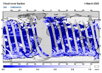 OMI - Cloud cover fraction of 04 March 2020