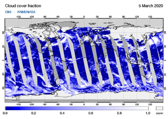 OMI - Cloud cover fraction of 05 March 2020